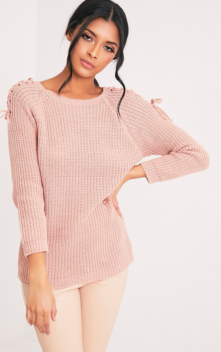 Vianni Blush Lace up Sleeve Knitted Jumper 1