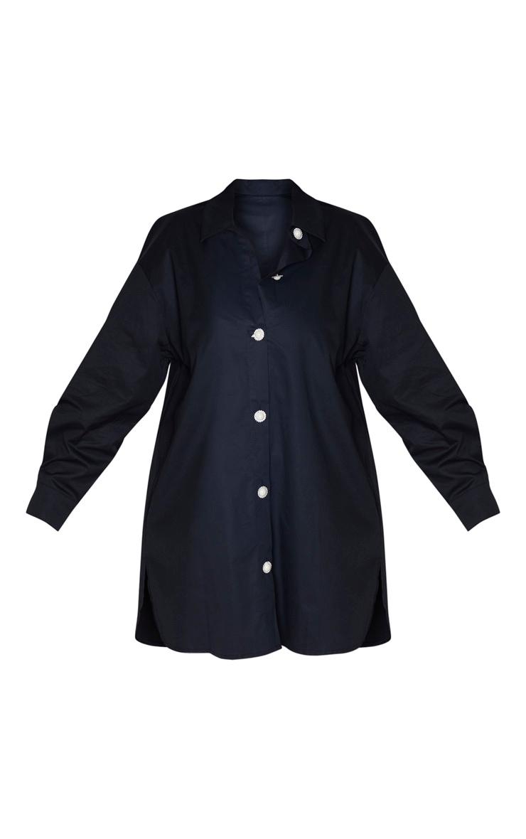 Plus Black Pearl Button Oversized Shirt Dress 3