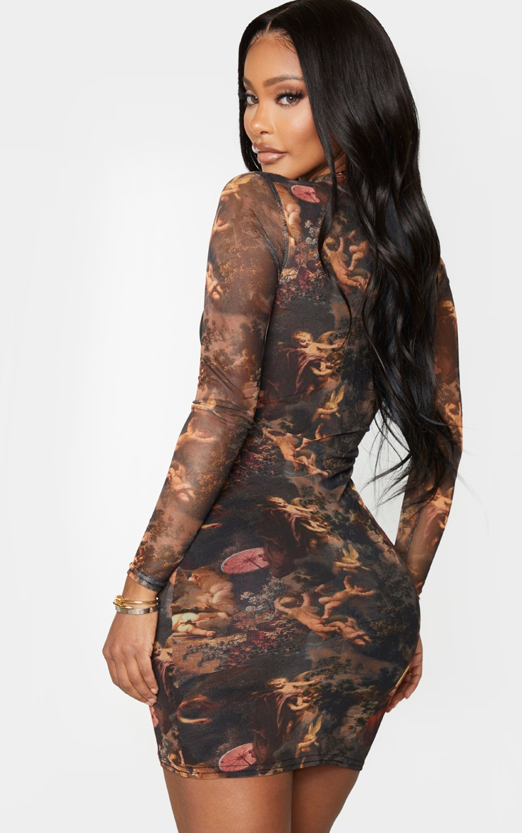 Shape Renaissance Print High Neck Mesh Bodycon Dress 2