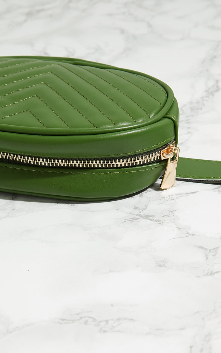 Green Chevron Quilted Bum Bag 4