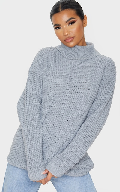 Grey Oversized Waffle Knit Roll Neck Jumper