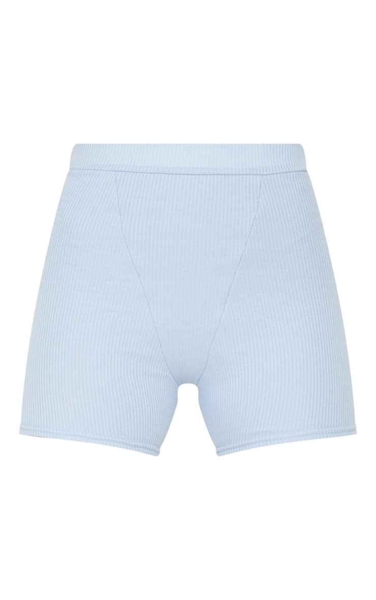 Light Blue Ribbed Bike Shorts 6