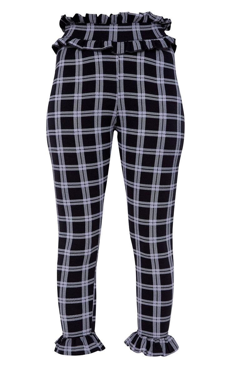 Black Check Frill Trim Trousers 3