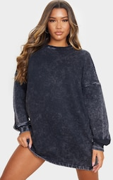 Black Acid Wash Oversized Sweatshirt Dress 3