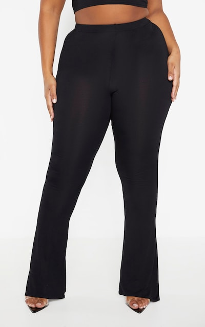 Plus Black Jersey Flared Trouser