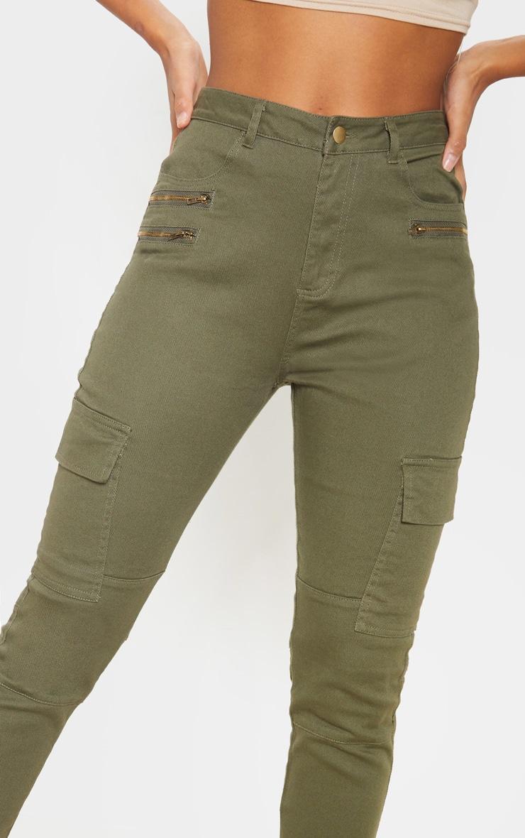 Soft Khaki Cargo Pocket Skinny Jeans 5
