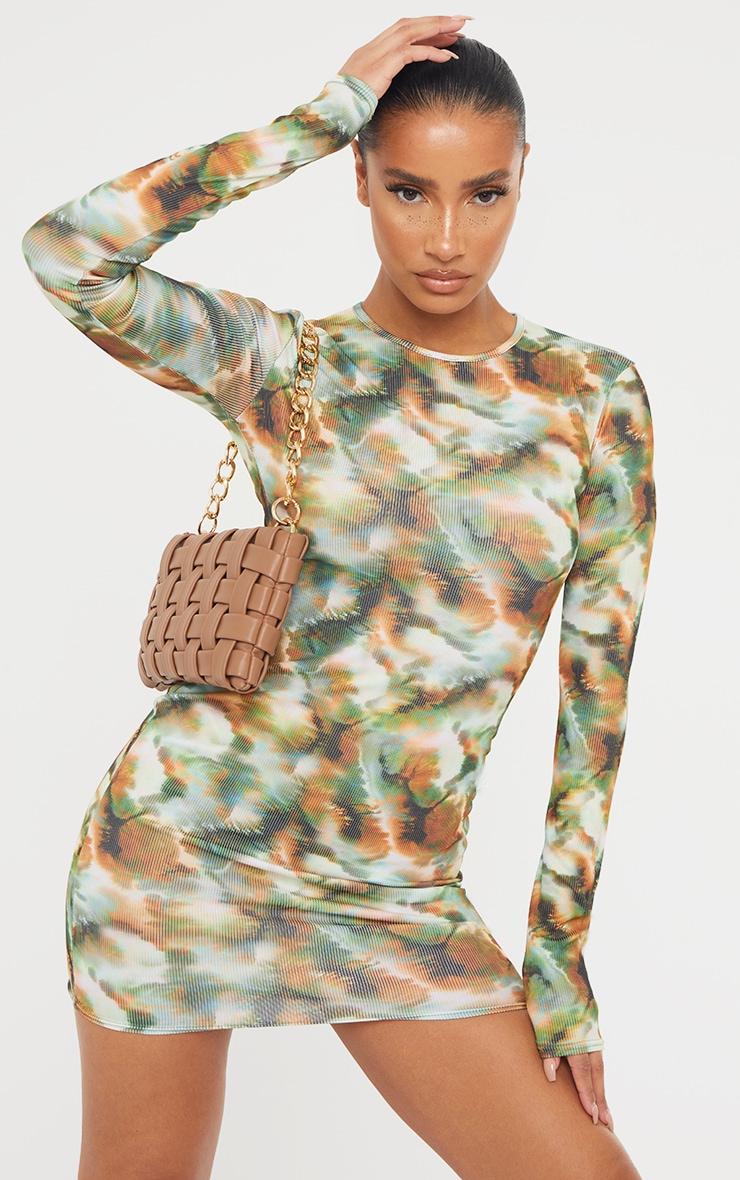 Khaki Tie Dye Print Ribbed Long Sleeve Bodycon Dress 1