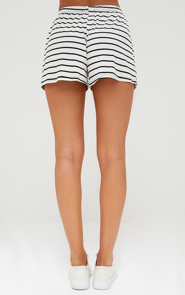 Cream Jersey Stripe Shorts 4