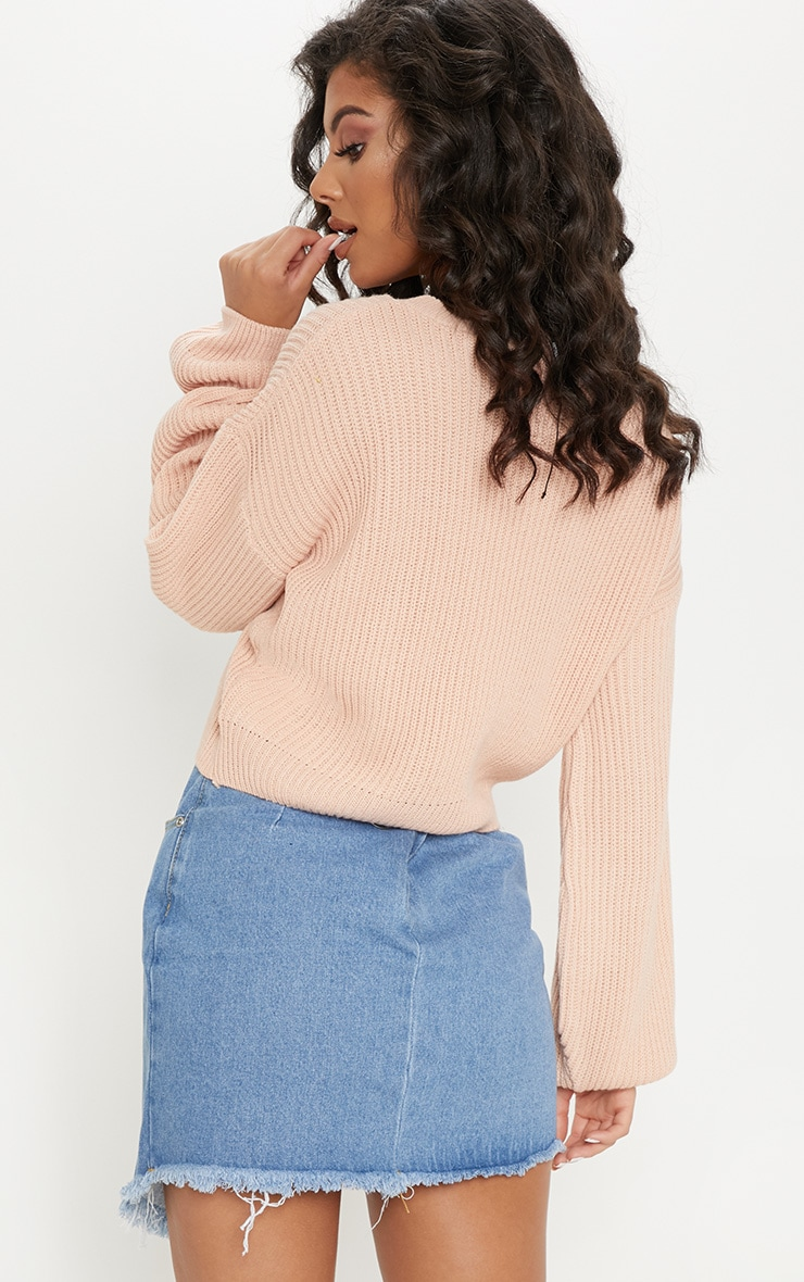 Blush Wide Sleeve Knitted Jumper 2