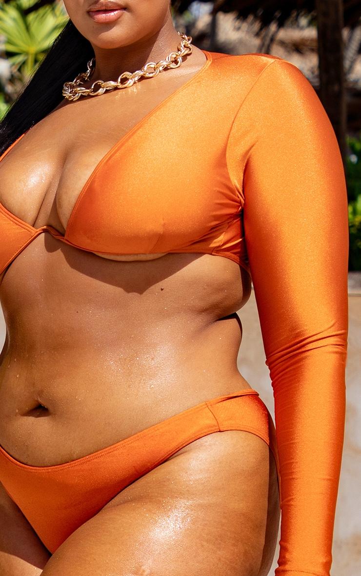 Plus Orange Underwired Long Sleeve Bikini Top 4