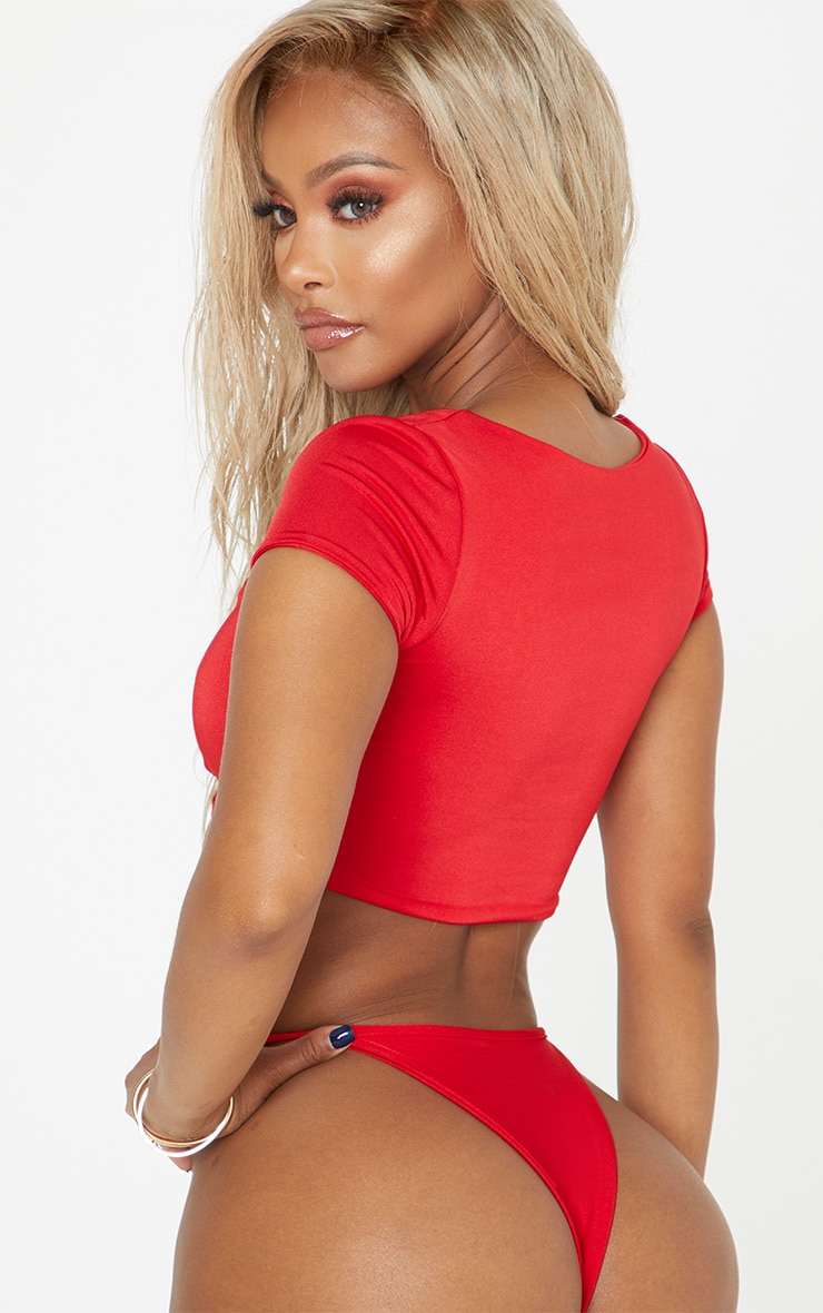 Shape Red Tie Detail Scoop Neck Bikini Top 2