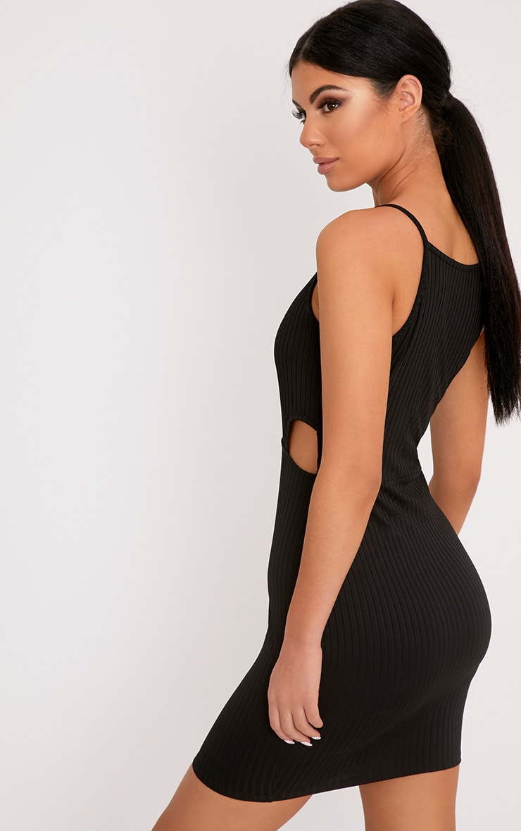 Mireille Black Ribbed Cut Out Bodycon Dress 2