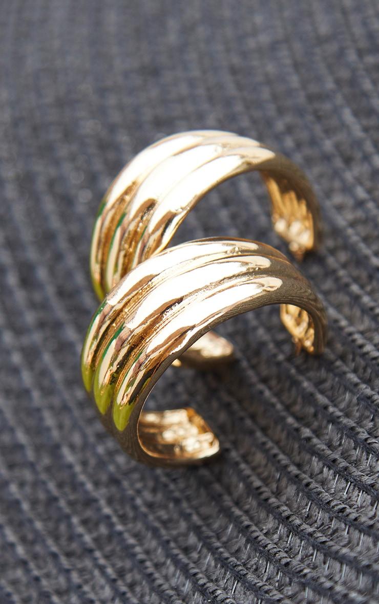 Gold 3 Pack Ribbed Assorted Hoop Earrings 2