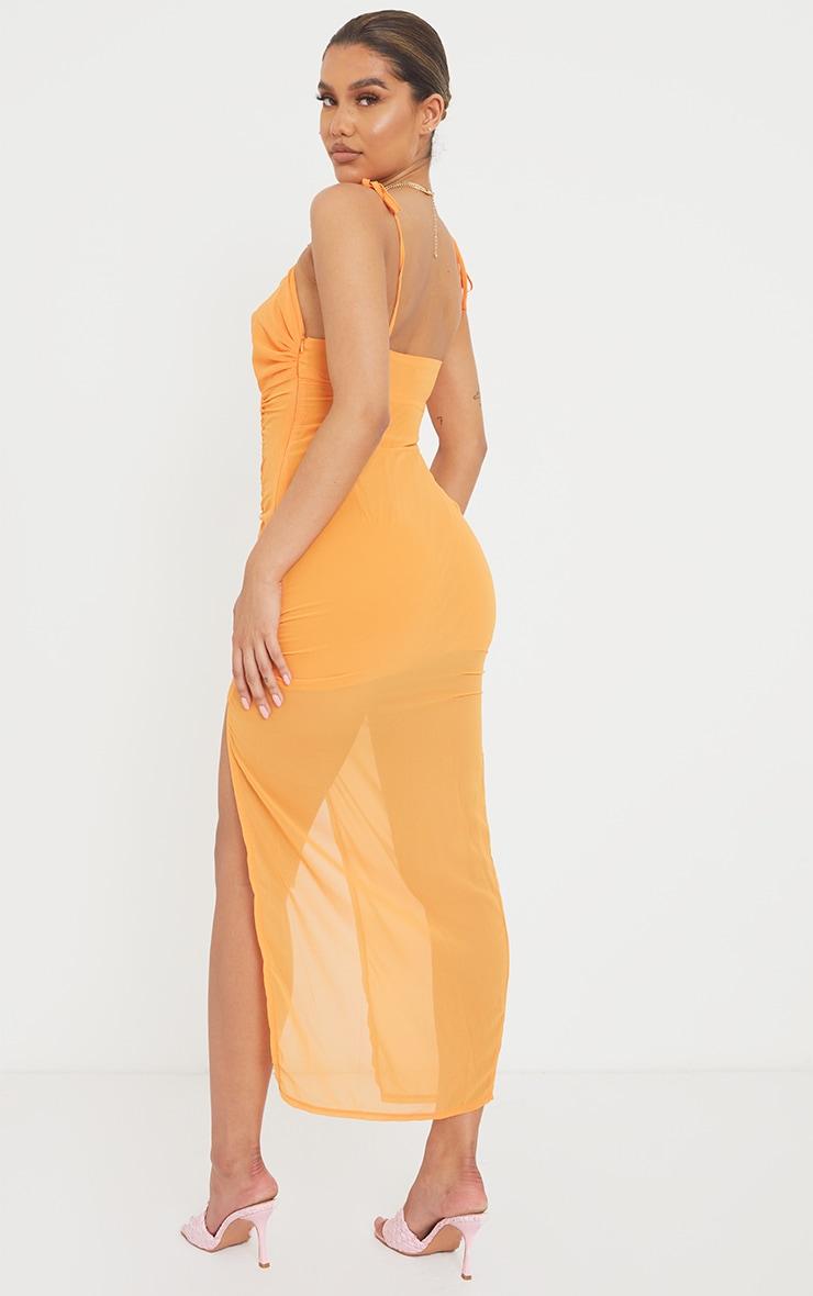 Tangerine Tie Bust Ruched Midaxi Dress 2