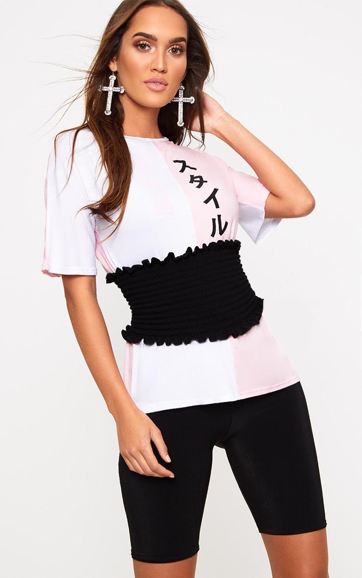 Pink Spliced Print Corset T Shirt  1