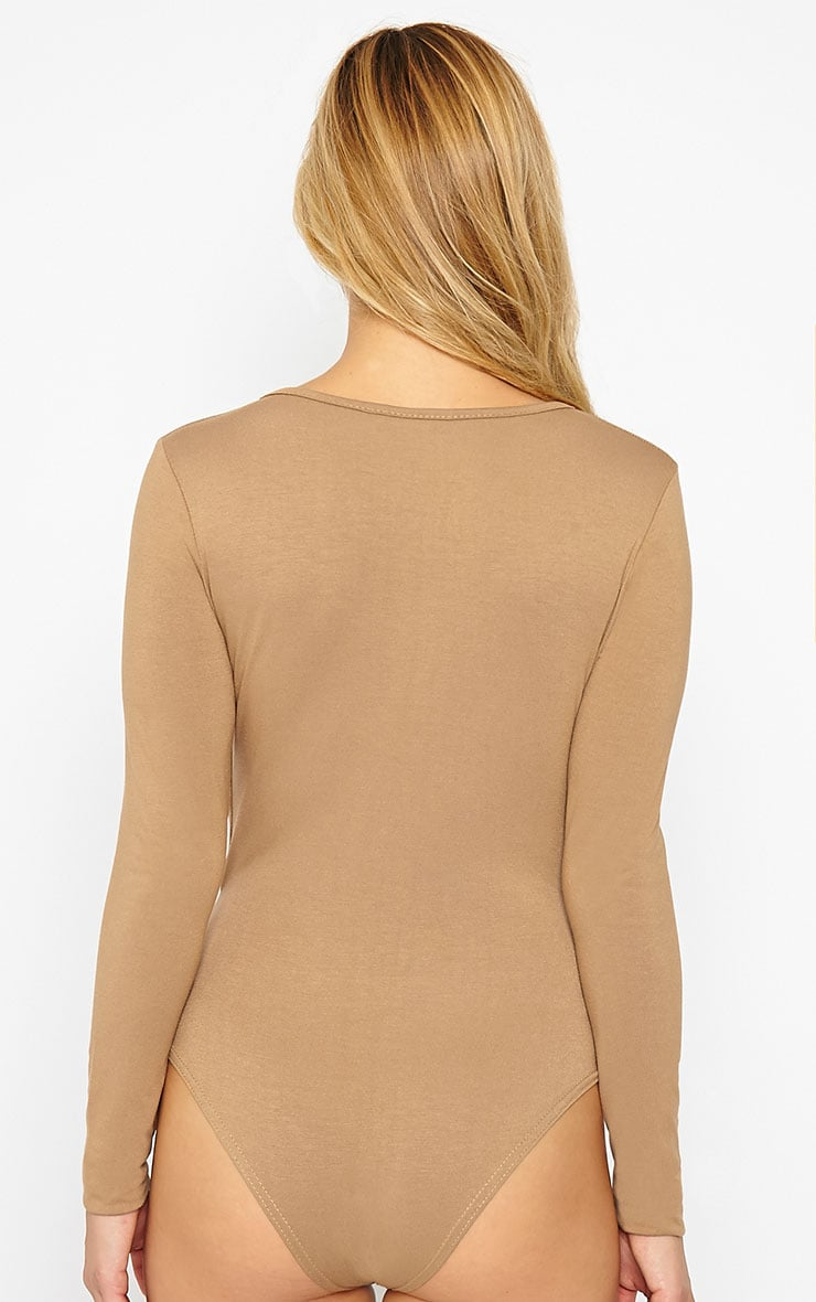 Freida Camel Wrap Over Plunge Bodysuit  2