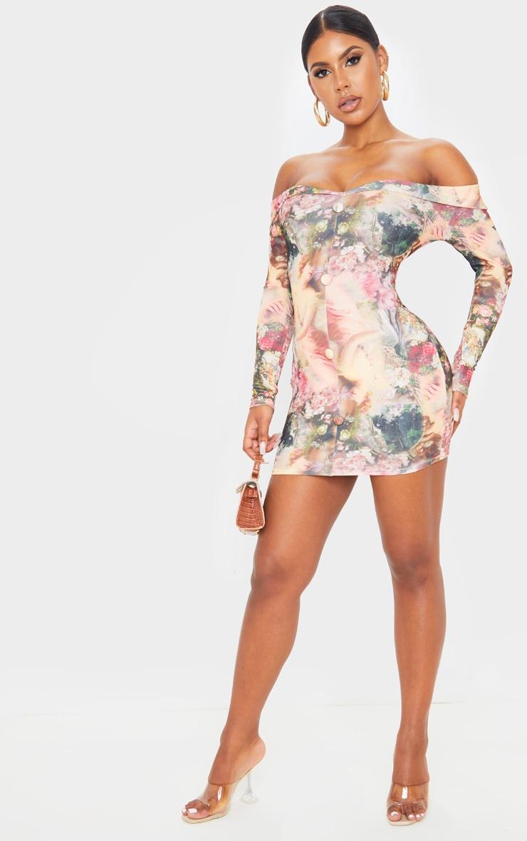 Multi Renaissance Print Bardot Button Down Blazer Detail Bodycon Dress 4