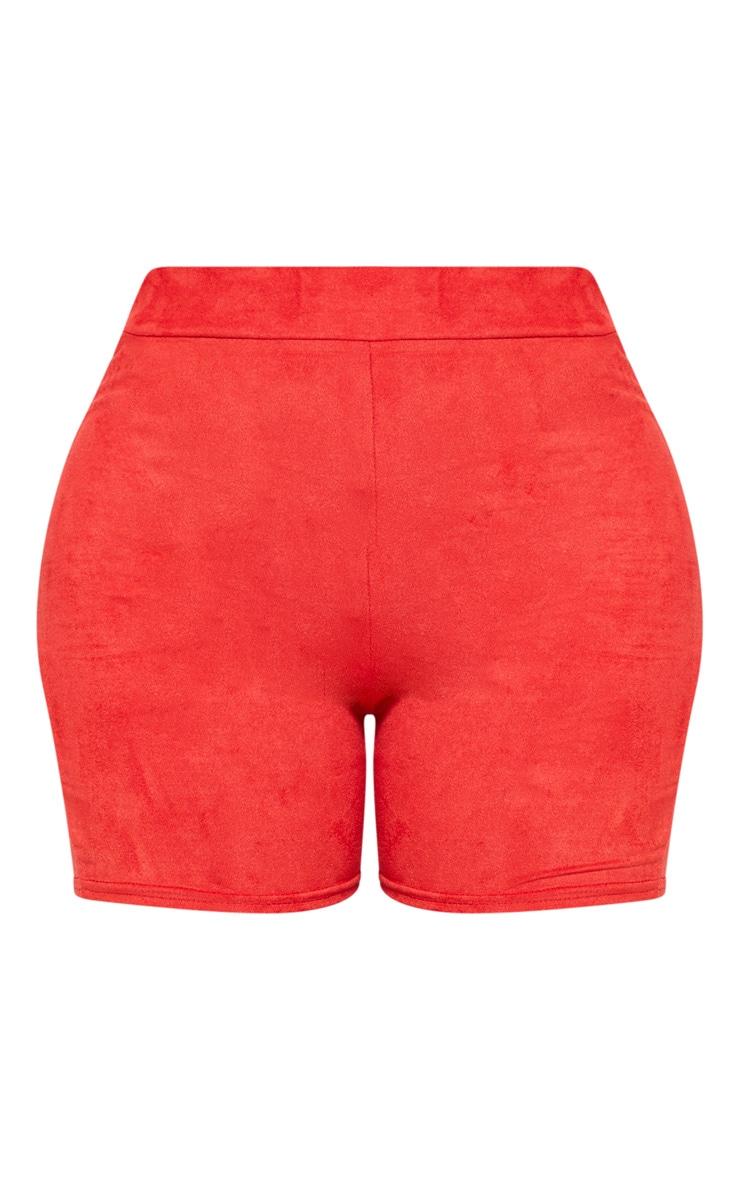 Shape Red Faux Suede Bike Shorts 3