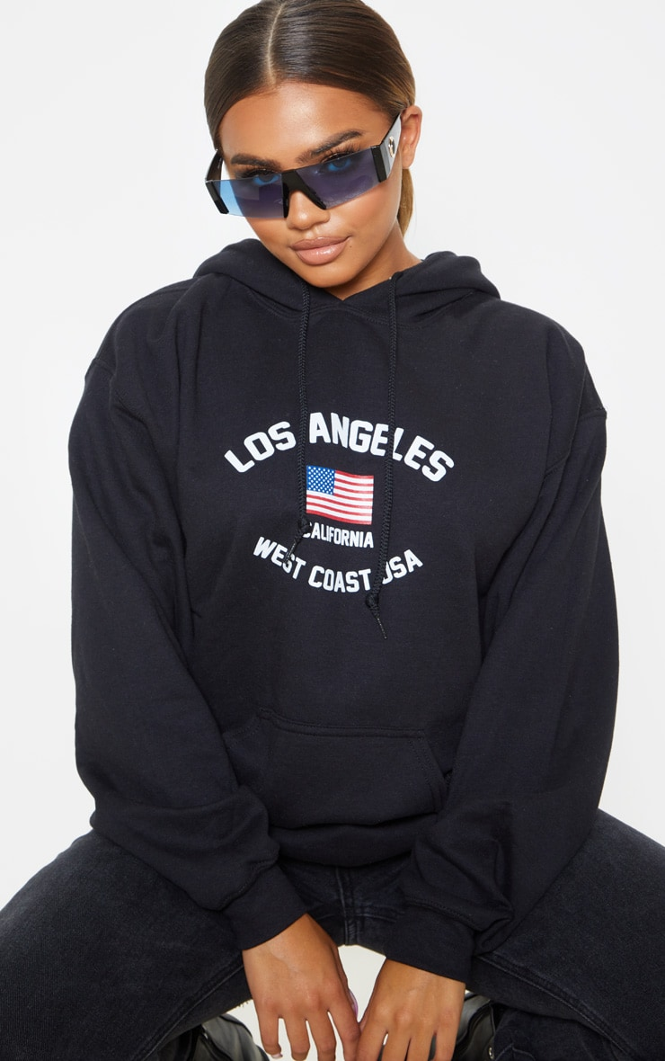 Black Los Angeles Slogan Oversized Hoodie 1