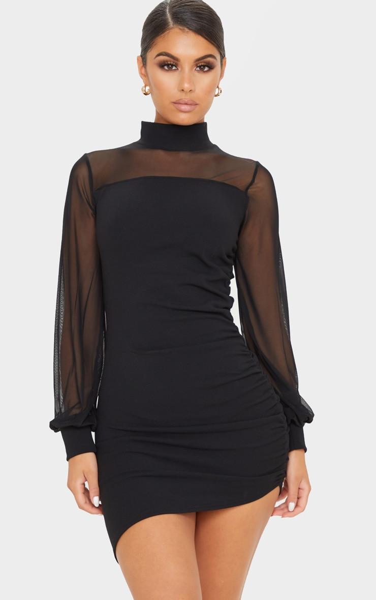 Robe moulante froncée noire à corsage en mesh et manches longues 1