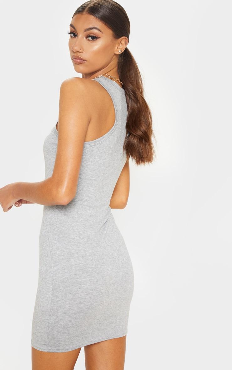 Tall Grey Racer Neck Basic Mini Dress  2
