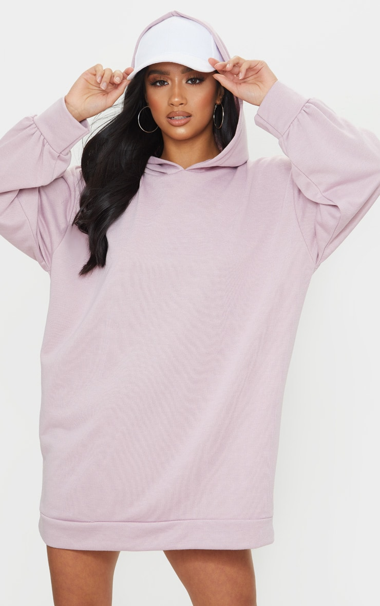 Petite Lilac Oversized Hoodie Sweater Dress 1