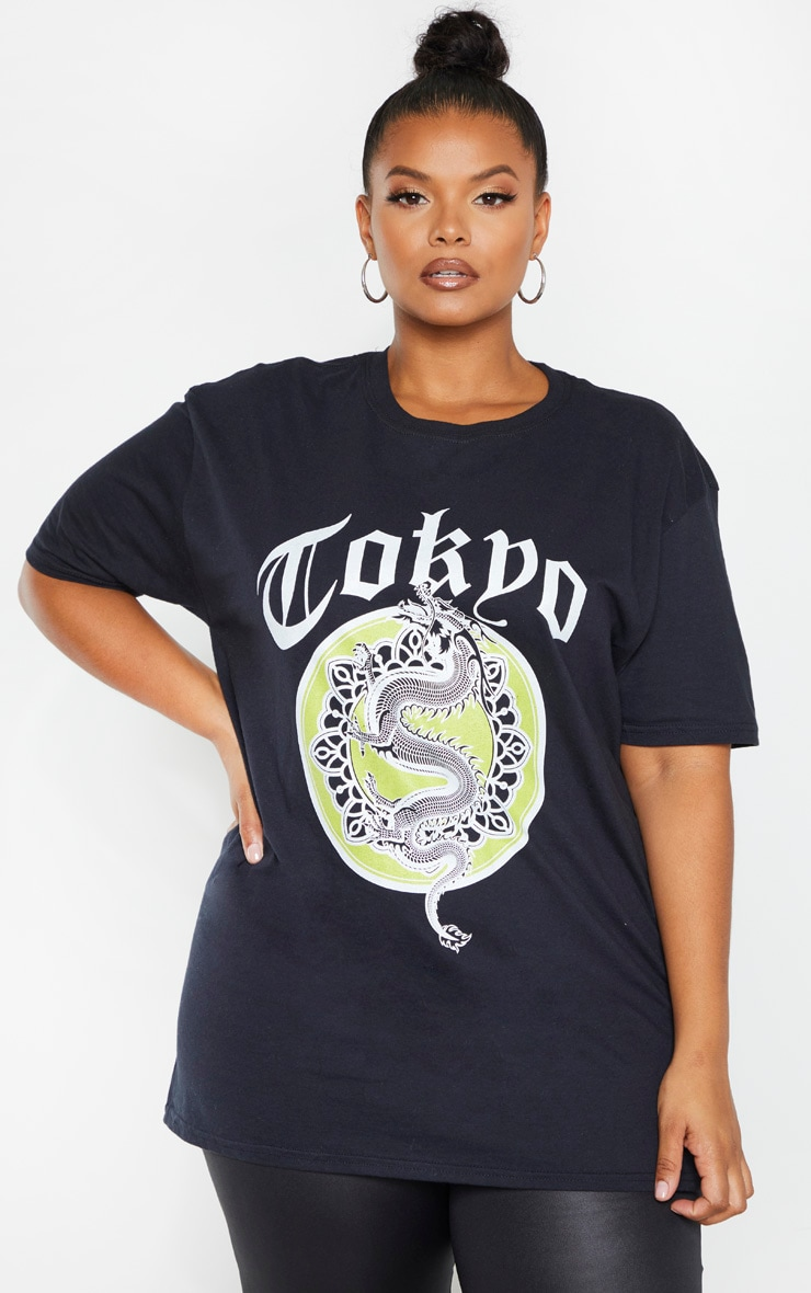 Plus Black Tokyo Slogan T Shirt  by Prettylittlething