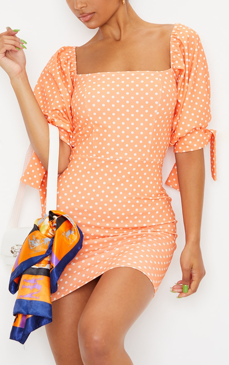 Tangerine Polka Dot Puff Sleeve Tie Back Bodycon Dress 4