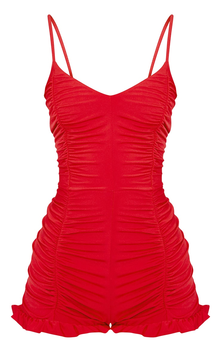 Red Ruched Frill Hem Playsuit 3