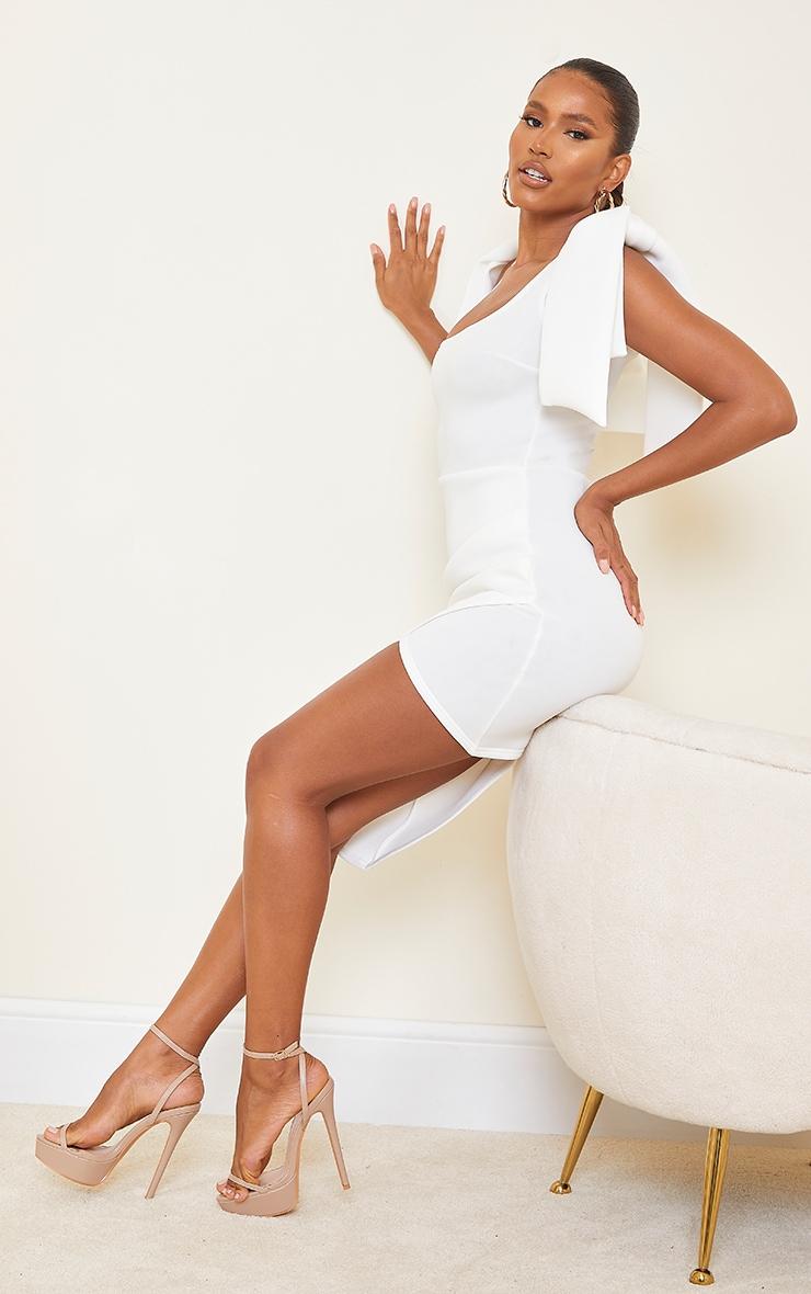 White Bonded Scuba Bow Shoulder Ruched Midi Dress 3