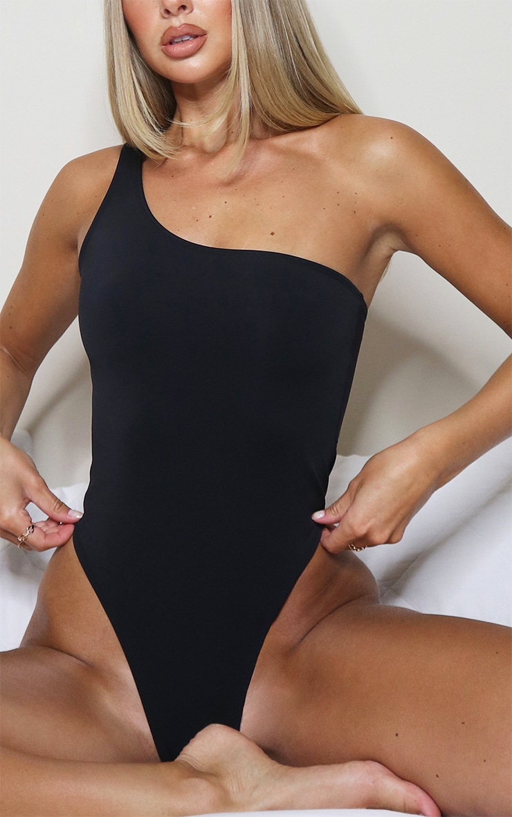 Black One Shoulder Scuba Swimsuit 4