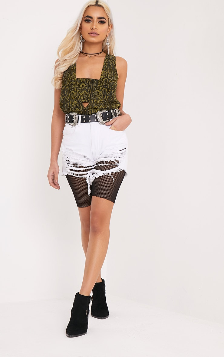 Claire Green Snakeskin V Back Woven Top 4