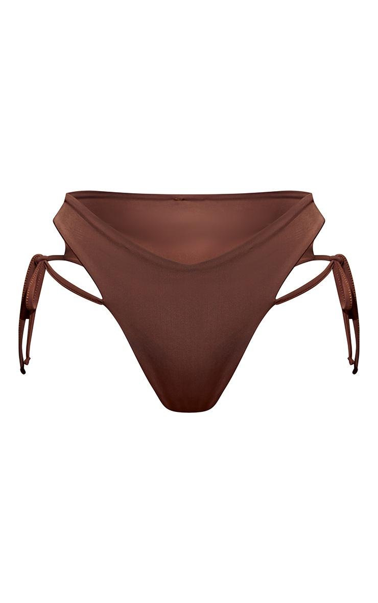 Chocolate Tie Side High Leg Bikini Bottoms 5