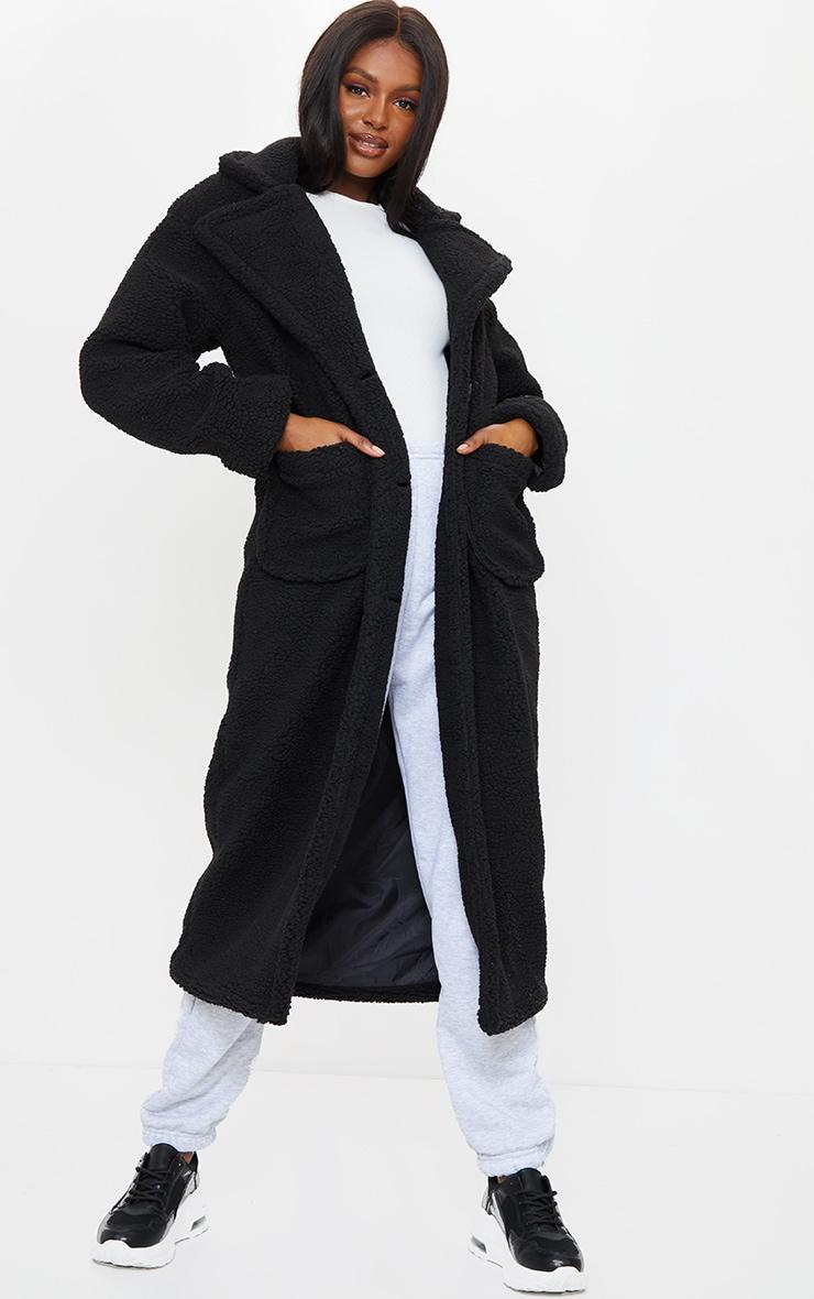 Tall Black Maxi Borg Coat 1