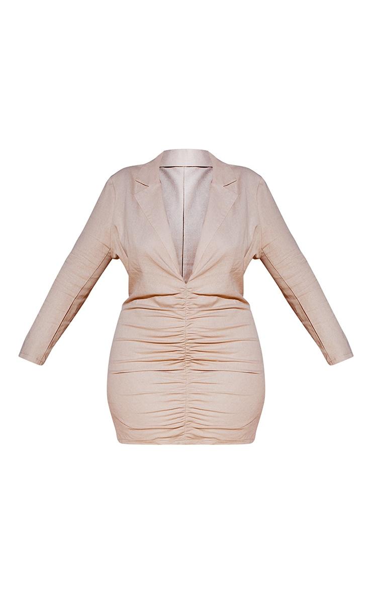 Plus Stone Plunge Ruched Front Blazer Dress 6