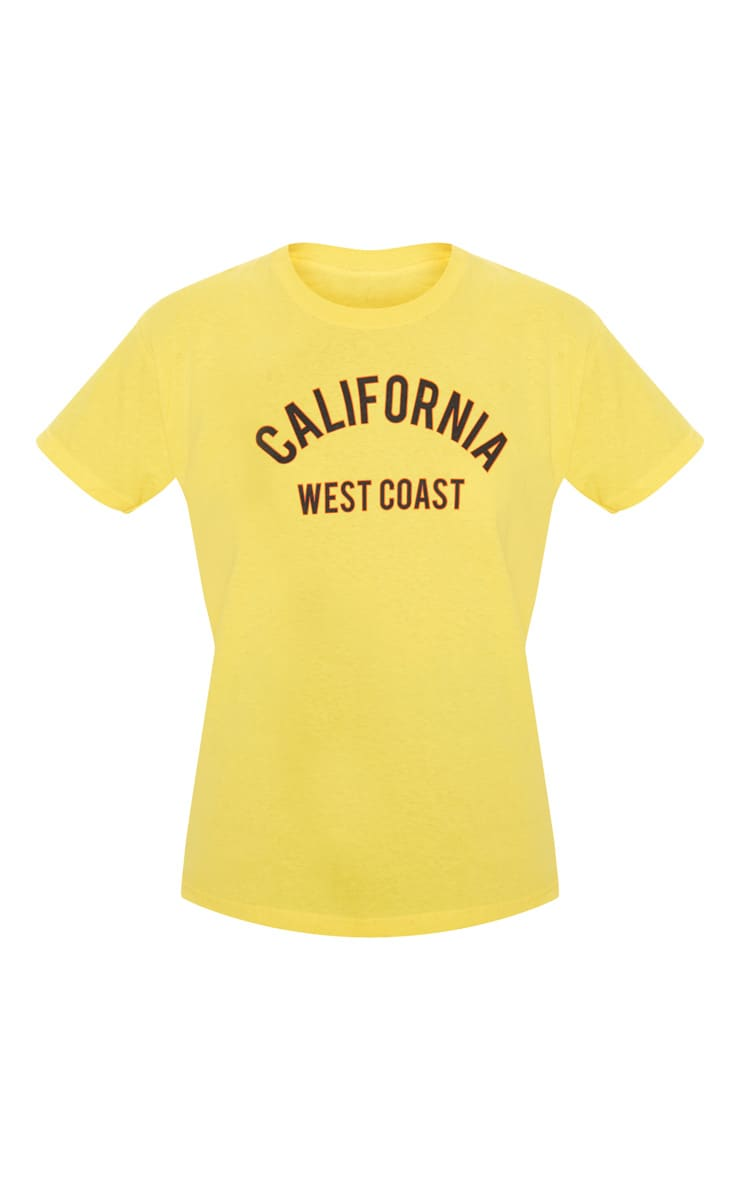 Yellow California Slogan Oversized T Shirt  3