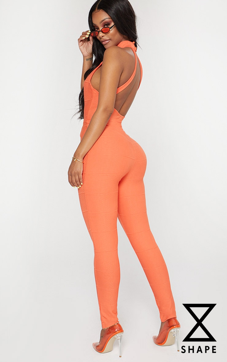 Shape Orange Bandage High Neck Jumpsuit 1