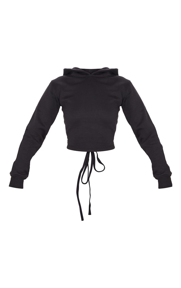 Black Lace Up Back Crop Hoodie 3