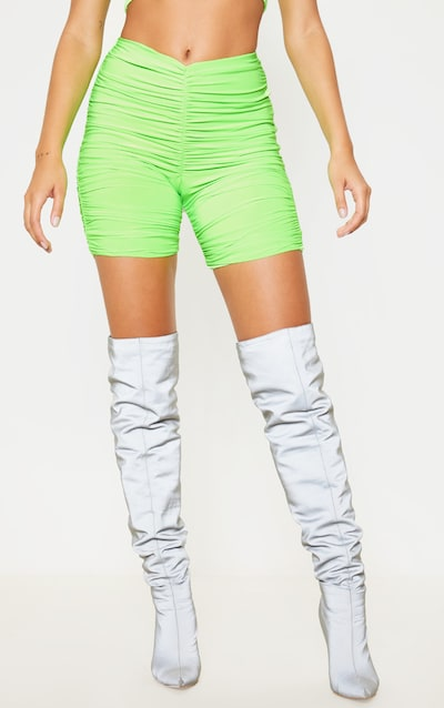 Neon Green Slinky Ruched Cycle Short