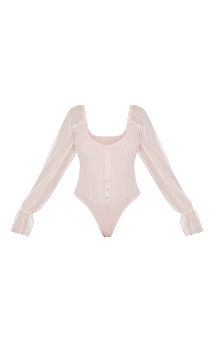 Blush Pink Rib Mesh Sleeve Bodysuit 3