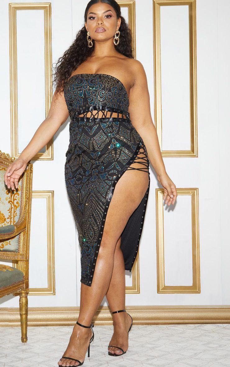Plus Black Glitter Lace Detail Bandeau Midi Dress 1
