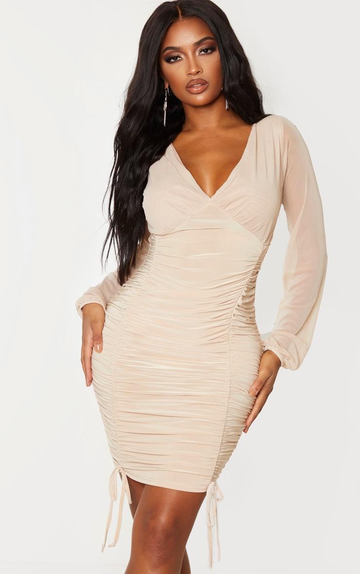 Shape Dark Nude Slinky Ruched Mesh Sleeve Bodycon Dress 1
