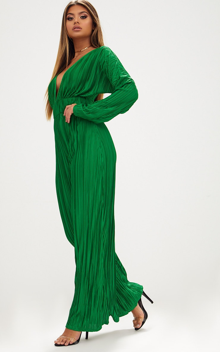 Emerald Green Long Sleeve Pleated Jumpsuit 4