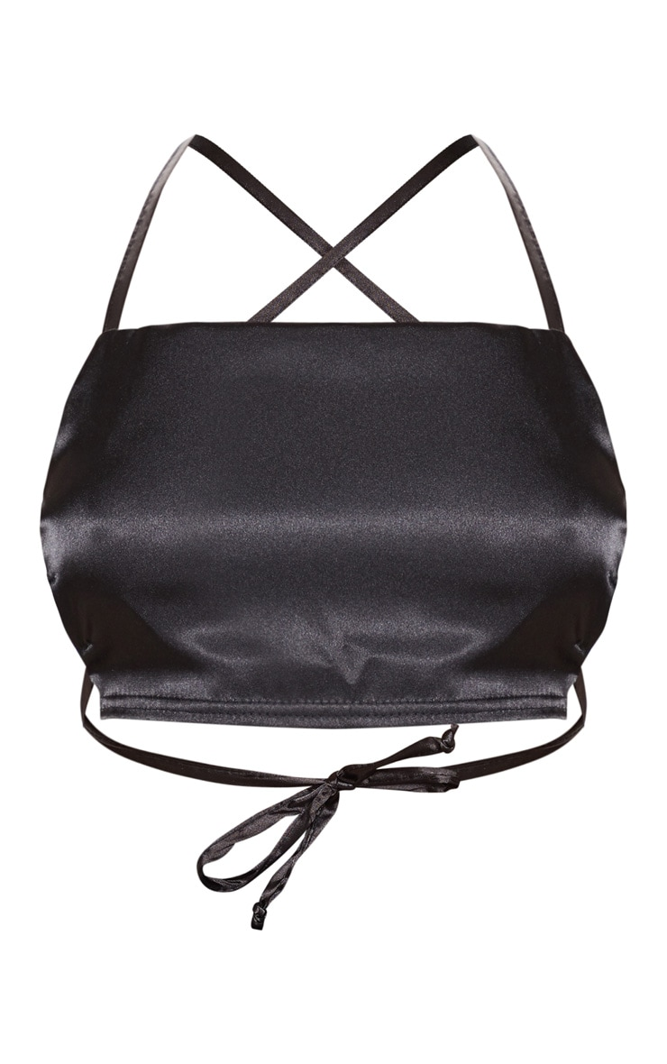 Black Satin Backless Strappy Crop Top 3