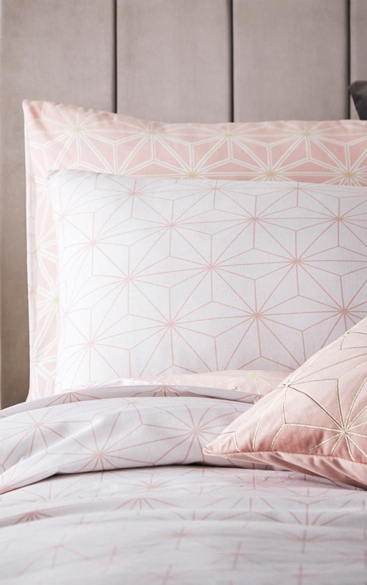 Pink Geometric Reverse Print Single Duvet Set 1