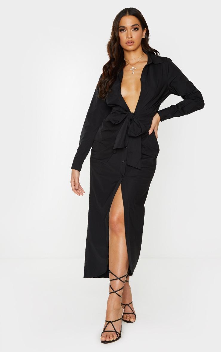 Black Long Sleeve Plunge Drape Detail Midi Shirt Dress 1