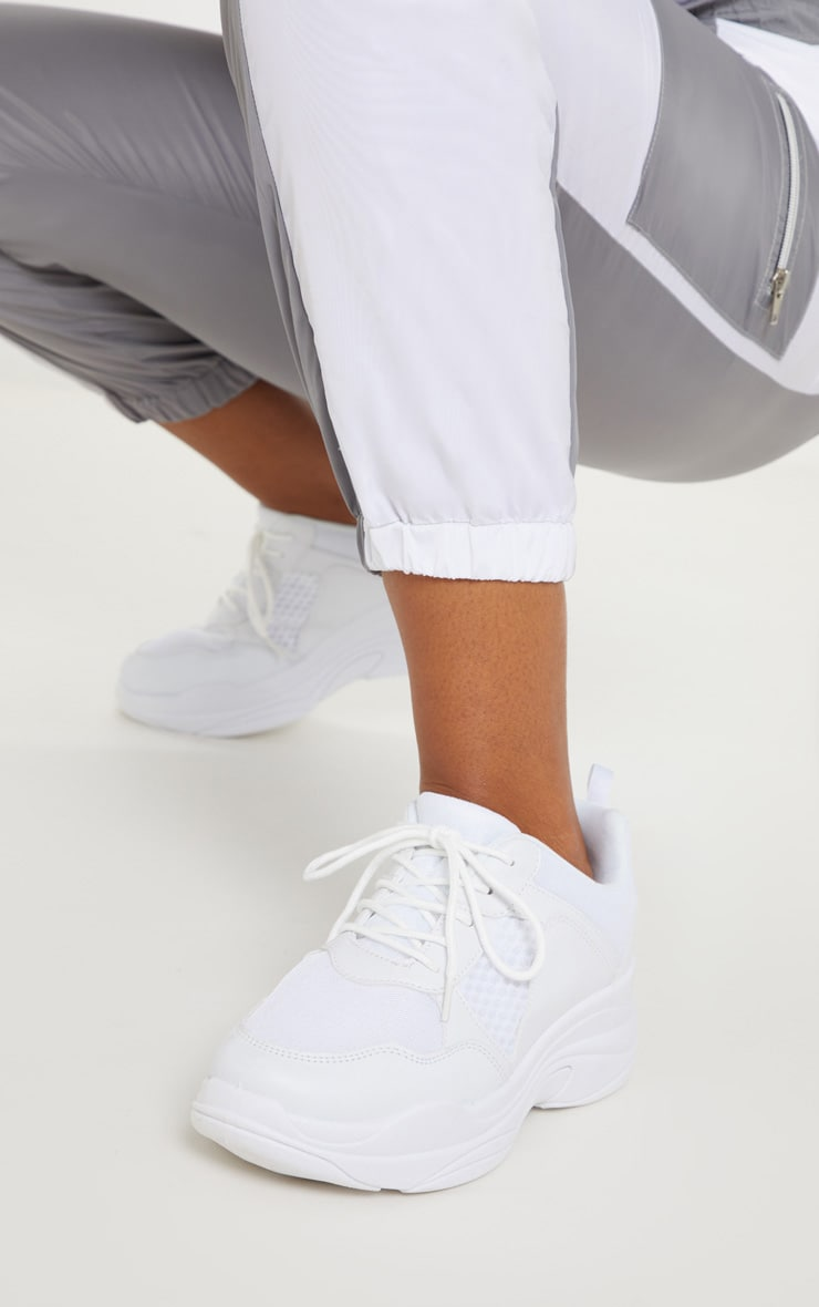 White Mesh Chunky Sole Lace Up Trainer