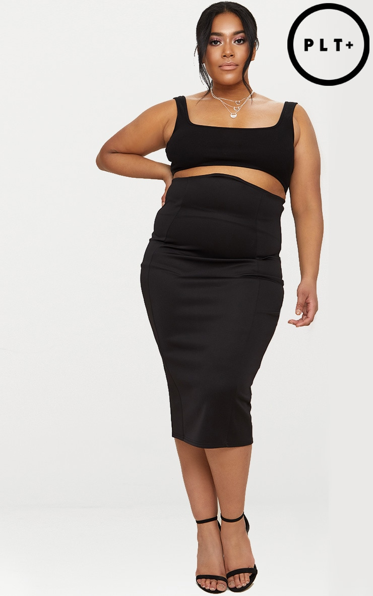 Plus Black Extreme High Waist Midi Skirt 1
