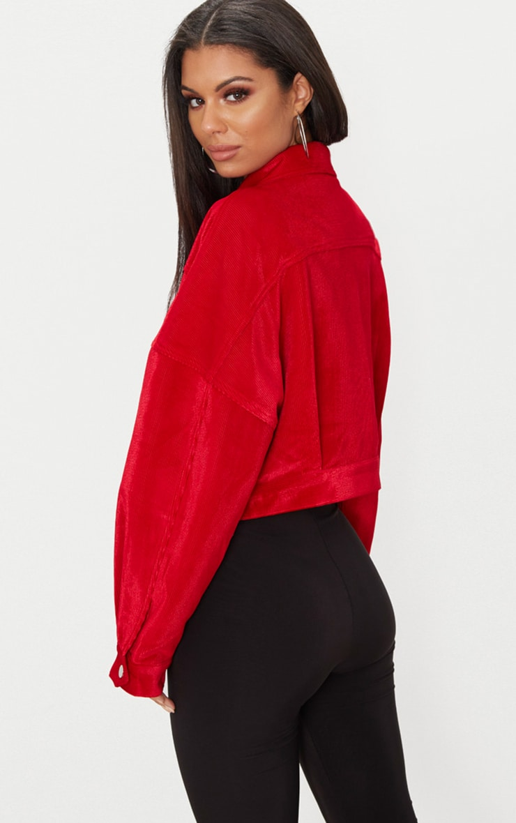 Red Cord Oversized Trucker Jacket 2