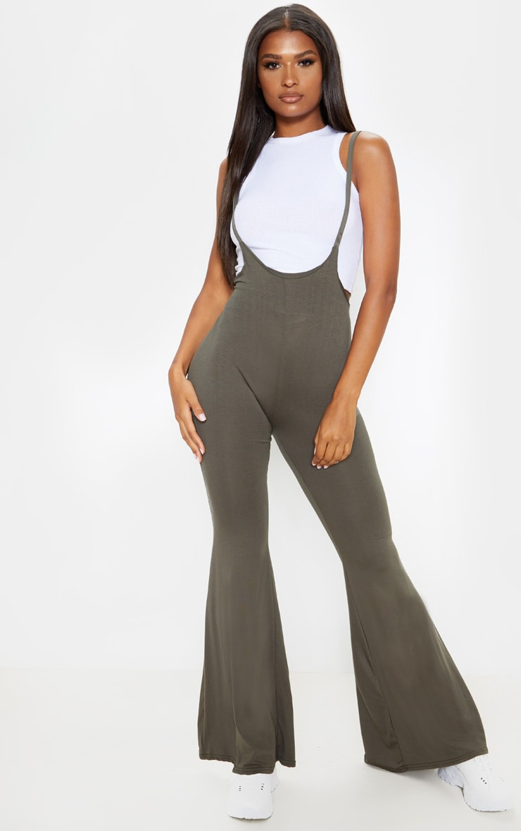 best authentic shop for genuine real deal Khaki Dungaree Style Flare Leg Trouser